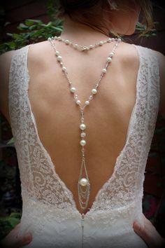 Backdrop NecklacePearl NecklaceWedding by dreamdaydesign on Etsy, $79.00 #backdropnecklace #weddingnecklace
