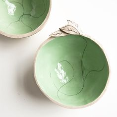 Leafy Bowl, beige and mint green ceramic trinket dish, ring catcher, nibbles or dipping bowl, handmade by karoArt ceramics.  via Etsy.