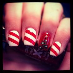 Classic Christmas nail design with a twist.