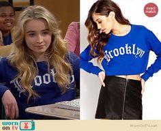 """Maya's blue """"Brooklyn"""" sweater on Girl Meets World.  Outfit Details: http://wornontv.net/36939/ #GirlMeetsWorld"""