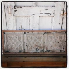 Salvaged Framed White Painted Pressed Tin Panel by OldHouseChic, $55.00