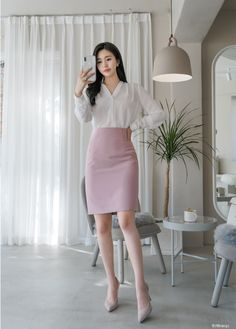 Classy Work Outfits, Office Outfits Women, Edgy Outfits, Fashion Outfits, Korean Fashion Work, Work Fashion, Skirt Fashion, Corporate Attire, Professional Outfits