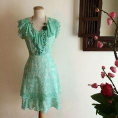Mint Green Frills Chiffon Dress on Carousell