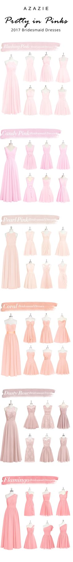 Several colors of bridesmaids dresses and gowns for your bridesmaid to wear as a wedding attendant and beyond. They are budget friendly for weddings, too! These pink bridesmaid gowns are lovely! Affordable Bridesmaid Dresses, Azazie Bridesmaid Dresses, Bridesmaids, Bridesmaid Inspiration, Cute Wedding Ideas, Groom Attire, Dream Dress, Pink Dress, Marie