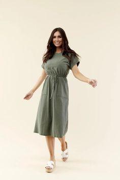 modest dress, church dress, green striped midi dress, modest clothing Modest Skirts, Modest Outfits, Skirt Outfits, Modest Fashion, Cute Outfits, Fashion Outfits, Modest Clothing, Striped Midi Dress, Midi Shirt Dress