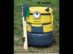 How to build a Minion Flower planter out of used tires - YouTube