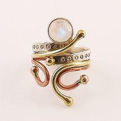 Rainbow Moonstone Three Tone Sterling Silver Whimsical Ring