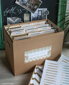 Printable Office Labels with Stylish Chevron Pattern