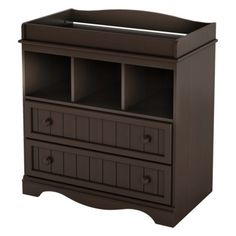 The South Shore Savannah Changing Table in Espresso offers practical storage spaces as well as a very nice country style.The South Shore Savannah Changing Table - .