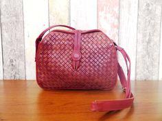 Strawberry Red Leather Shoulder Bag Vintage  by BelledeJourVintage