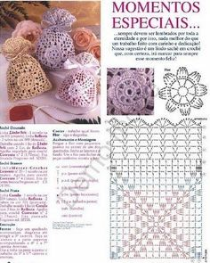 Many sachet bags, crochet #diagrama #patterns
