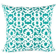 "18"" x 18"" Turquoise & White Swirls Pillow Cover 
