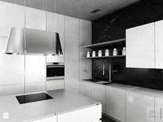 Czarno-biała kuchnia Kuchnia - zdjęcie od Piotr Skorupski Studio Architektury