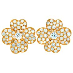 Van Cleef & Arpels Diamond Yellow Gold Cosmos Earrings | From a unique collection of vintage more earrings at http://www.1stdibs.com/jewelry/earrings/more-earrings/