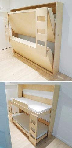 Dumbo Dou­ble Mur­phy Bed by Roberto Gil. When not in use, the inge­nious bunk bed folds into a small cab­i­net only 12″ deep. Great for spare bedroom!