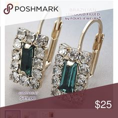 18 KT gold filled & Emerald Earrings 18 KT. Gold filled & Emerald Earrings Jewelry Earrings