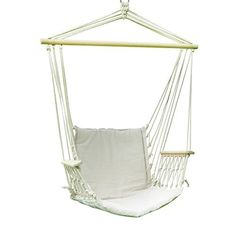adeco cotton canvas tree hanging suspended hammock chair w arm rests 250 lbs