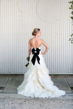 #black & white wedding dress... Wedding ideas for brides, grooms, parents & planners ... https://itunes.apple.com/us/app/the-gold-wedding-planner/id498112599?ls=1=8 … plus how to organise an entire wedding ♥ The Gold Wedding Planner iPhone App ♥