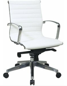 Office Star Mid Back Eco Leather Seat and Back, Locking Tilt Control and Polished Aluminum Arms and Base Executive Chair, White