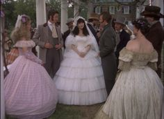 Brett Main, James and Ashton Huntoon and guests dressed for a wedding Period Drama Movies, 80 Tv Shows, Wedding Movies, Fantasy Gowns, Patrick Swayze, North South, Fashion Tv, Southern Belle, Historical Clothing