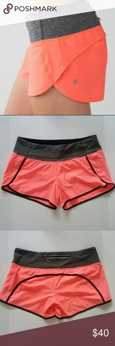 Lululemon Run Speed Shorts Adjustable waistband drawstring. 2 small split pockets in waistband. No holes, stains or tears. Look like new. Model in pic used for fit purposes only. lululemon athletica Shorts