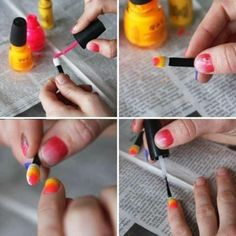 nail art - diy nails diy nail art diy crafts do it yourself diy art diy tips dig ideas Love Nails, How To Do Nails, Pretty Nails, Diy Ombre, Ombre Nail, Nail Art Diy, Diy Nails, Diy Art, Beauty Nails