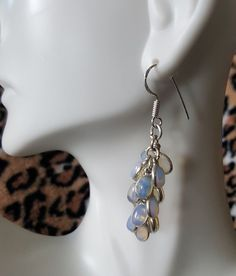 Sterling Silver MOONSTONE Petals Dangle Drop Earrings STUNNING #MGK #DropDangle