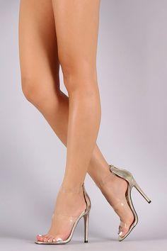 Triple Lucite Straps Open Toe Stiletto Heel