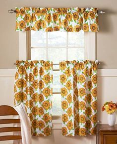 Decorate A Window With One Easy Purchase  This Kitchen Curtain Set. It Adds  A Splash Of Vibrant Color And Provides More Privacy. Rod Pockets Make  Hanging ...
