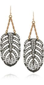 Lulu FrostGold-plated crystal feather earrings