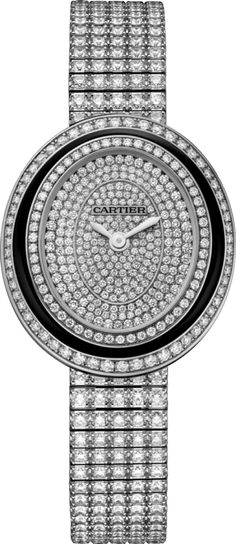 Hypnose watch Small model, rhodiumized 18K white gold, black lacquer, diamonds