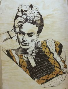 Woodcut of Frida Kahlo Handprinted Using Several by NoShoesNoah