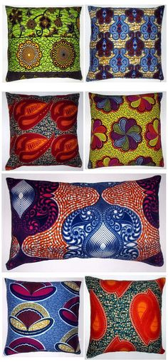 Using African lost wax print textiles for pillows African Interior, African Home Decor, African Textiles, African Fabric, African Prints, African Patterns, Ethno Style, African Design, African Style