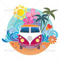 Buy Retro Surfing Camper Van by Artyzan on GraphicRiver. Iconic Volkswagen retro camper van on a stylised surfing themed background with sand, waves, sun and palm trees. Palm Tree Background, Background Vintage, Combi Hippie, Van Drawing, Palm Tree Icon, Palm Trees, Bus Art, Retro Campers, Hippie Art