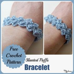 FREE crochet pattern for the Slanted Puffs Bracelet. The bracelet pattern is easy to adjust to any size. It's elegant and perfect with anything classy.
