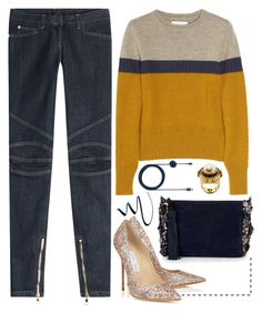 """""""Navy Stripe"""" by cherieaustin ❤ liked on Polyvore featuring Balmain, Carven, Jimmy Choo, Monsoon, Native Union, Stila and Alexander McQueen"""