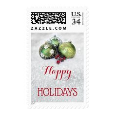 Festive Christmas Baubles and Sparkling Snow Stamp #christmas #postage #stamps