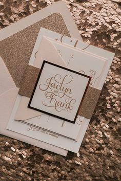 Blush and Rose Gold Glitter Letterpress Wedding Invitations by Just Invite Me
