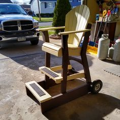 Hey Phil , this is Tony, thought I'd send you a photo for your gallery. I used your plans for the Tall Adirondack chair, which we use at our sportsman's club for the score keeper chair and added some wheels and a wider armrest for the scorekeeper ! Adirondack Chair Plans, Adirondack Furniture, Furniture Plans, Harvest, Color Schemes, How To Plan, Wheels, Club, Gallery