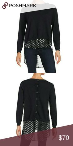 """IMNYC ISAAC MIZRAHI Knit Layered Sweater Black Soft knit pullover finished with an airy underlay Ribbed roundneck Long sleeves with ribbed cuffs Ribbed trim Contrast hi-lo underlay Side slits Back button placket About 25"""" from shoulder to hem Cotton/polyester Machine wash Made in Italy Isaac Mizrahi Tops"""