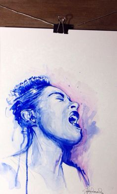Billie holiday ORIGINAL watercolor painting on Etsy, $200.00