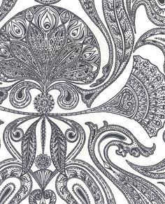 Malabar Wallpaper Black on white Indian paisley design wallpaper