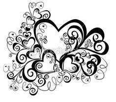 Çiçek süsleme ile kalp, vektör — Stok İllüstrasyon #2428439