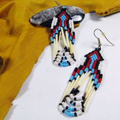 Beaded Indian Earrings Quill Jewelry White by SpiritWolfArtistry $19.99 #NativeBeadwork #NativePride #goteamflourish