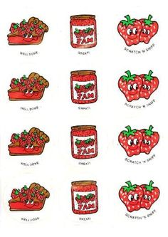 Strawberry CTP scratch and sniff stickers - 1980's
