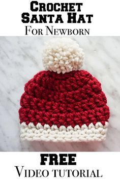 Easy crochet Hat for Newborns! Super cute & easy to make with the free video tutorial and step by step! Crochet Santa Hat, Easy Crochet Hat, Crochet Baby Hat Patterns, Crochet Beanie Pattern, Chunky Crochet, Crochet Baby Hats, Crochet For Kids, Crochet Crafts, Crocheted Hats