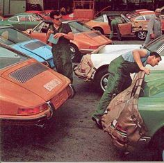 "At the Porsche factory . . . the first application of the ""Bra"" for the car . . . used to drive test 911's just off the assembly line . ."
