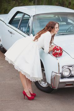 LOVE THE RED SHOES!! Short Wedding Dress with Sleeves and Pockets - Janie Jones. $775.00, via Etsy.