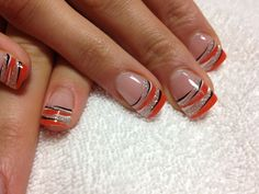 Orange and silver gel, black and white lining#trends