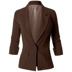 LE3NO Womens Fitted 3/4 Sleeve Blazer Jacket ❤ liked on Polyvore featuring outerwear, jackets, blazers, fitted boyfriend blazer, boyfriend jacket, brown boyfriend blazer, boyfriend blazer jacket and stretch blazer